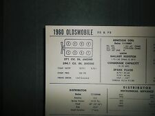 1960 Oldsmobile 371-394.1 CI V8 SUN Electric Tune Up Chart Excellent Condition!