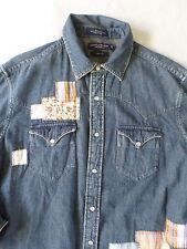 DANIEL CREMIEUX denim patchwork pearl snap cowboy western shirt LARGE