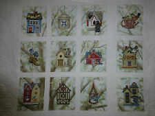 BIRD HOUSE Fabric Cotton Panel Craft Quilting Elizabeth's Studio
