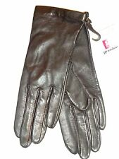 Ladies Women's Fownes 100% Silk Lined Genuine Leather Gloves,S, Black