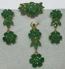 14k Solid Yellow Gold Set Earrings Ring Pendant W/Natural Emerald Round Cut8.33G