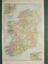 1900 LARGE VICTORIAN MAP ~ IRELAND ~ INSET DUBLIN CORK ~ CONNAUGHT LEINSTER etc