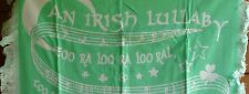 "IRISH LULLABY BLANKET MINT GREEN ACRYLIC  36"" X 40""  WORDS TOO RA LOO RA LOO RA"