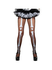 Adult Black Skeleton Print Tights Fancy Dress Costume Sexy Halloween Ladies BN