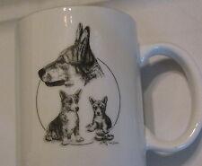 Porcelain Mug Trio of Corgis Welsh Corgi Dog Puppies Art by Cindy Farmer