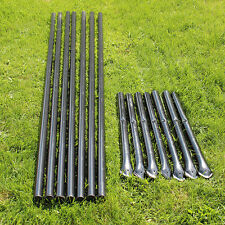 Steel Posts - Galvanized - Black PVC Coated (7-Pack) For 4.5' Animal Fencing