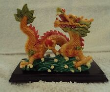 Hand Painted Chinese Oriental  Dragon Figurine Statue New in Box