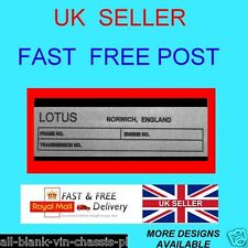 LOTUS NORWICH small ESPRIT EUROPA ELAN CAR CHASSIS ALL-BLANK-VIN-CHASSIS-PLATES