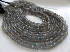 "13"" strand AAA SPECTROLITE LABRADORITE faceted rondelle beads 4mm blue green"