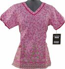 NEW WOMEN MARY ENGELBREIT DESIGNER SCRUB TOP M3057 ROUND V-NECK UNIFORM XS - L