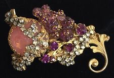 Vintage Miriam Haskell Brooch Pin~Pink/Purple Glass/RS/Crystals/Gilt Filigree