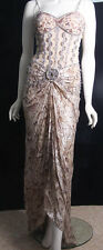 GORGEOUS DOLCE JOVANI BEADED EVENING DRESS SMALL TRAIN SHAWL SIZE 8 ? (3606)