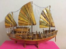 Wooden Ship Model Boat Nautical Vintage Sailing Stand Hand Made Galleon Gift 20""