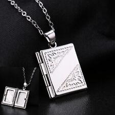 Jewelry Silver Book Photo Locket Square Box Pendant Necklace Chain