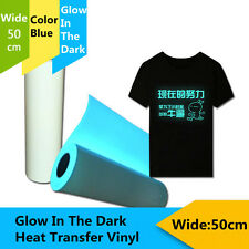 "PU Heat Transfer Vinyl Material T-Shirt Glow In The Dark Blue 20"" x 39.37"""