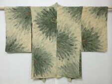 4007M10z690 Vintage Japanese Kimono Silk HAORI  Beige Chrysanthemum