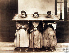 1875-Three Women in the Pillory, China-A Form of Punishment & Public Humiliation