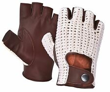 FINGERLESS REAL SOFT SHEEP NAPPA LEATHER MENS DRIVING GLOVES DRESS WINTER RETRO
