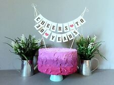 30 Th Birthday Cheers  Cake Topper Mini Bunting Banner Topping Shabby Vintage
