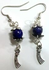 Handmade Lapis Lazuli Gemstones w Comet Charms Silver Plated Dangle Earrings