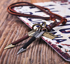 N200 Genuine Leather HandCraft  2 Arrow+Cross Pendant Personality Beach Necklace