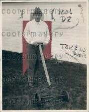 1921 US Secretary of Navy Edwin Denby Cuts Grass With Push Mower Press Photo