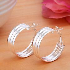 New  Women Fashion 925 Silver Ear Stud  Hoop Dangle Earring Wedding Jewelry Gift