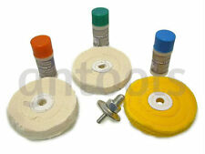 7PC Hard Metal Cleaning & Polishing Buffing Mop Wheel Kit & Compounds Fit Drills