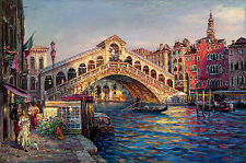 "Huge Oil painting cityscape of Venice with bridge over the canal canvas 24""x36"""