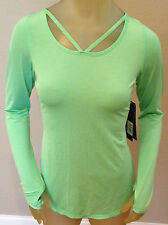 NWT Studio by Capezio ROME LS Tee Shirt Active Top BALLET Green Womens Medium M