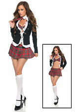 Sexy School Girl Student Uniform w/Plaid Skirt Costume for Cosplay England Style