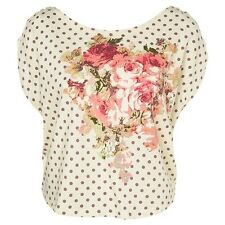 Rare for Topshop Polka Dot Vintage Rose Floral Print Cropped T Shirt Tee Top M