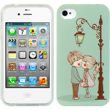 For iPHONE 4 4G 4S -HARD RUBBER GUMMY SKIN CASE CUTE COUPLE BOY GIRL KISSES BLUE