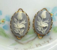 #649N Vintage Tulip Charms Connectors Blue Glass Oval Cameo Flower Gold Tone