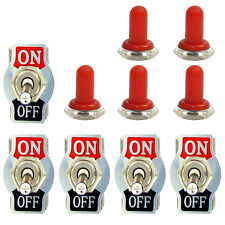 5 X Heavy Duty 20A 125V 2 Terminal ON/OFF Toggle Switch Waterproof Red Boot Cap