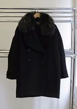 $645 ANTIK BATIK IRO MARANT SANDRO RACCOON FUR COLLAR OVERSIZE WOOL COAT 38