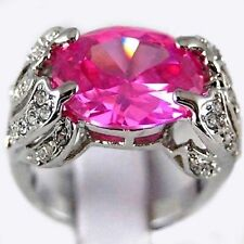 U Pick Pink & White Topaz 925 Sterliing Silver Wedding Ring Size 6#
