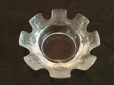 LALIQUE CRYSTAL FROSTED/CLEAR SAINT NICOLAS FACES BOWL CRYSTAL FRANCE