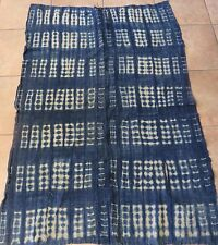 "Vintage African,Dogon Indigo Resist Dyed Fabric/Hand Woven Cotton Strips/38""x56"""