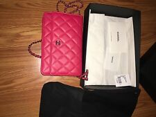 chanel handbag Red Authentic $2200.00 Wallet With Silver Chain Style