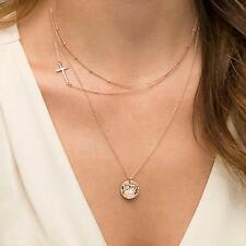 Women's Fashion Faith Cross Sequin Three Layers Simple Golden Necklace Neckchain