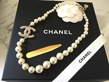New NIB Authentic Chanel Gold Pearl Necklace CC Logo Chain Classic