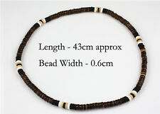 Brown Black White Natural Wood Bead Surf Necklace Tribal Mens Womens Beach
