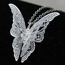 Women Lady Girl New Hot Sell Silver Plated Butterfly Pendant Jewelry