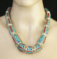 ETHNIC STERLING SILVER NECKLACE TURQUOISE HANDMADE TIBETAN JEWELRY UNN009
