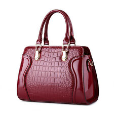 Women PATENT Leather Crocodile Handbags Lady Purse Hobo Crossbody Shoulder Bags