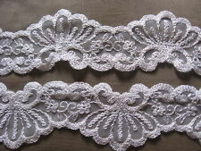 5 YDS UNUSUAL SCALLOPED WHITE BEADED CORD EMBRD ON STRETCH NYLON LACE.