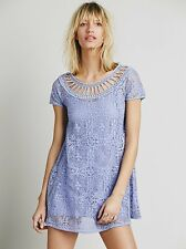 NWT Free People orig $128. boho lace dress size S Lilac and lined
