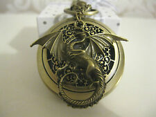 New Large Dragon Fantasy Steampunk Goth Antique Bronze Pocket Watch Necklace
