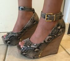 "SHOE DAZZLE ""Mulberry"" Snake Print Peep Toe Platform Wedge Heels Brown Women Sz7"